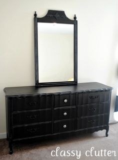 """I found this dresser at a thrift store for $20. It wasn't marked so I asked the lady up front and she said """"umm.. how about $20!?"""" I'm thinking..""""$20 = sold!"""" and I found the mirror on the side of the road on a rainy yucky day. I knew exactly what I was going to …"""