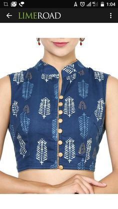 add the skirt straight into the hemline of this top! Kalamkari Blouse Designs, Saree Jacket Designs, Choli Designs, Designer Blouse Patterns, Fancy Blouse Designs, Blouse Neck Designs, Kurta Neck Design, Stylish Blouse Design, Ink Blue
