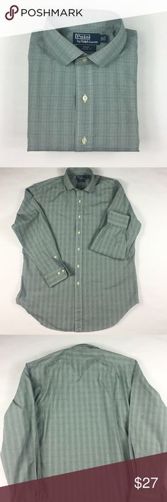 Polo by Ralph Lauren Dress Shirt Green, White, Blue Plaid Regent Classic Fit Polo by Ralph Lauren.  16 1/2 34/35. Polo by Ralph Lauren Shirts Dress Shirts