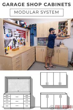 Get Organized with DIY Cabinets for Your Garage Workshop! Need better storage and organization in your garage workshop? Learn how to build DIY cabinets to t Garage Cabinet Systems, Cabinet Plans, Garage Gym, Garage Shop, Garage Plans, Garage Ideas, Workshop Storage, Garage Workshop, Tool Storage