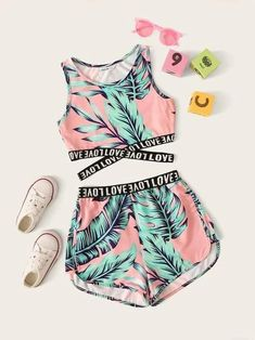 Girls Letter Cross Wrap Tape Tropical Top & Shorts Set - Source by sofiajori - Cute Lazy Outfits, Crop Top Outfits, Teenage Outfits, Kids Outfits Girls, Sporty Outfits, Swag Outfits, Stylish Outfits, Work Outfits, Summer Clothes For Girls