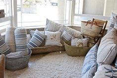 lovely french ticking...love the baskets too.