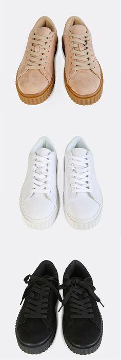 7eadc8848f762 Faux Suede Platform Sneakers Cute Sneakers, Sneakers Nike, Fancy Shoes,  Cute Shoes,