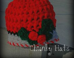 Christmas Hat, Holly Beanie, Holiday Hat, Crochet Christmas Hat