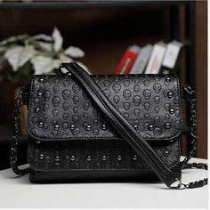 Skull Chain Leather Handbags