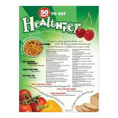 "18"" x 24"" Laminated Appropriate for grades 9-adult. From eating fruit for dessert to sharing your fries with a friend, this poster is full of simple tips for a healthier diet, whether one is eating out, cooking at home, or packing snacks to munch on throughout the day. Nutrition Poster, My Plate, Eat Fruit, Cook At Home, Nutrition Education, Fruit Smoothies, Fries, Healthy Eating, Packing"