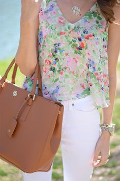 ASTR Floral Print V-Neck Tank. Not a fan of the bag, but the rest of the outfit is great.