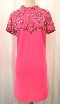 "1960s ""Andora"" hot-pink beaded party dress"