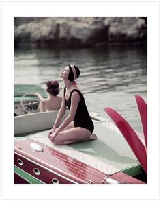 Barbara and Marie Helene, pour ELLE, Cap d' Antibes, Eden Roc (1957)  by Georges Dambier