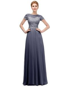 Ysmo Women's 2016 Chiffon With Lace Long Evening Dress Short Sleeve Prom Dresses * Discover this special product, click the image : Prom dresses