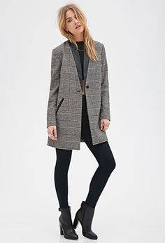 Checkered Houndstooth Coat | Forever21 - 2000101602
