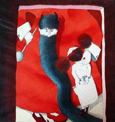 Illustration originale de Isabelle Chatellard - La longue barbe | Oeuvres | Galerie Robillard