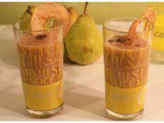 Smoothies pommes poires au miel et à la cannelle : - 2 pommes - 2 poires - 10 cl de lait - 1 cuillère à soupe de miel - 1 pincée de cannelle en poudre - 1 pincée de cacao en poudre non sucré