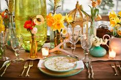 Eclectic Vintage Wedding Table Setting