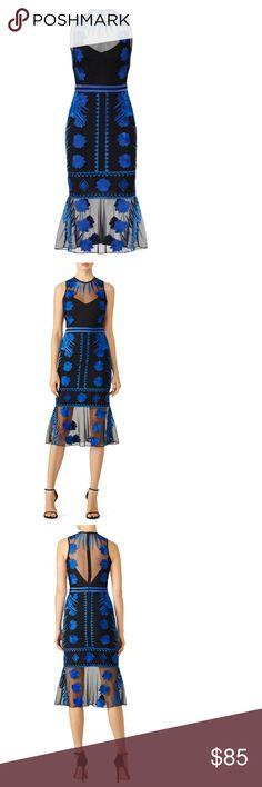 8b3fbdb3f717 Nicole Miller - Blue Mesh Flutter Dress Black and blue mesh (100% Nylon).  Sheath. Sleeveless. Crew neckline. Hidden back zipper with hook-and-eye  closure.