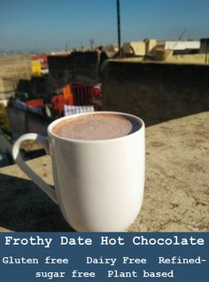 This frothy date Hot Chocolate is beyond luxurious and at the same time is gluten free, dairy free, refined sugar free and plat based. Free Plants, Gluten Free Recipes, Hot Chocolate, Free Food, Sugar Free, Plant Based, Dairy Free, Dating, Treats