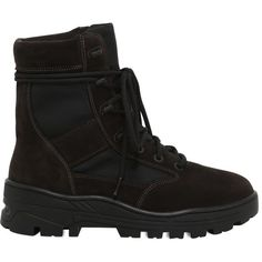 Yeezy Men Suede & Techno Canvas Lace- Up Boots (€490) ❤ liked on Polyvore featuring men's fashion, men's shoes, brown, mens suede shoes, mens suede lace up shoes, mens brown suede shoes, mens canvas shoes and mens shoes