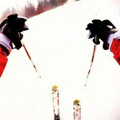 Skiing ski pov white hands slovenia gopro