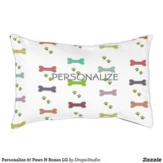 Personalize it! Paws N Bones LG Small Dog Bed - shop link here:   http://www.zazzle.com/personalize_it_paws_n_bones_lg_small_dog_bed-256725983970038900