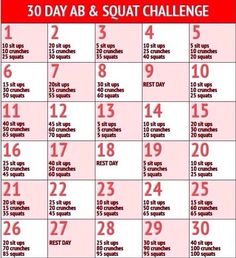 30 day abs and leg workout. Squat challenge Stomach challenge. Holiday soon, time to step this up.