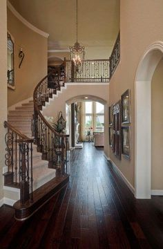 I Love Unique Home Architecture. Simply stunning architecture engineering full of charisma nature love. The works of architecture shows the harmony within. Villa Plan, Style At Home, Grand Staircase, Curved Staircase, Staircase Design, House Goals, Home Fashion, My Dream Home, Exterior Design