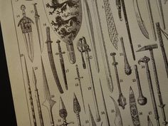 1902 antique print with pictures of weaponry by DecorativePrints