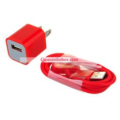 Red USB Power Adapter   Data Cable for iPhone US$3.69