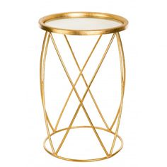 Aidan Gray Cross Hatch Side Table in Gold - $240.00 - Free Shipping   Vintage Home Furnishings