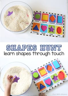 Shapes Hunt - Add puzzle pieces to Rice! Teach Toddlers their shapes with this shapes hunt activity through touch Cognitive Activities, Toddler Learning Activities, Preschool Lessons, Infant Activities, Preschool Activities, Kids Learning, Preschool Shapes, Shape Activities For Preschoolers, 2 Year Old Activities