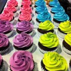 Neon Cupcakes - too cute! I added a combo of liquid coloring & gel coloring to white cake batter & my vanilla buttercream to make purple, blue, green, pink, and orange colors.