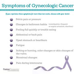 """Recognizing the signs and symptoms of gynecologic cancers can lead to early detection and better prognosis. """"Share"""" this guide with the important women in your life. #cancerawareness #womenscancer #cancersymptoms"""
