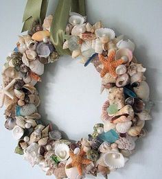 1000 images about sea glass shell treasures on for Seashell wreath craft ideas