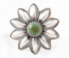 Navajo Handcrafted Sterling Silver Turquoise Flower Ring Size 7 #IndianJewelry