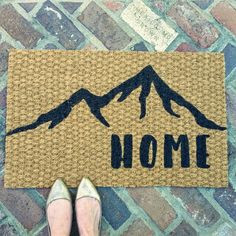 Home Welcome Doormat with Mountains by UrbanOwlCoShop