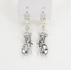 Sterling Silver Chihuahua Earrings by Donna Pizarro fr the Animal Whimsey Collection of Dog Jewelry and Chihuahua Jewelry by DonnaPizarroDesigns on Etsy