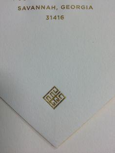 envelope flap engraved in gold ink - Arzberger Stationers