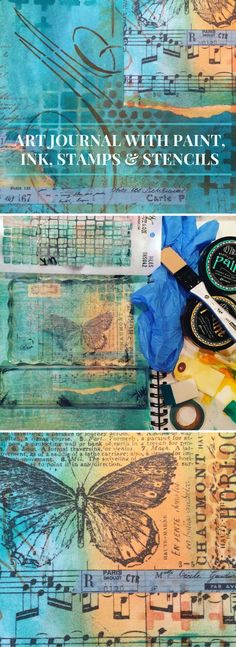 art journal mixed media inspiration August Art Journaling - Marjie Kemper shares 4 art journal pages Art journal with Dylusions paint, stamps, stencils and more (Marjie Kemper) Art Journal Pages, Journal D'art, Art Journals, Journal Ideas, Mixed Media Journal, Mixed Media Canvas, Mixed Media Collage, Collage Art, Mix Media