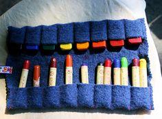 Wool felt crayon pouch