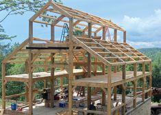 framing of 32 x 40 x 38 high, three-story barn Pole Barn Garage, Building A Pole Barn, Pole Barn House Plans, Metal Building Homes, Pole Barn Homes, Building A Shed, Diy Pole Barn, Building Ideas, Pole Barn Designs