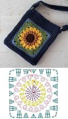 Crochet Motif Patterns, Granny Square Crochet Pattern, Crochet Diagram, Crochet Chart, Crochet Squares, Crochet Designs, Crochet Stitches, Granny Square Tutorial, Mode Crochet