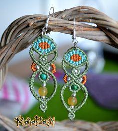 Eye see you earrings with Chrysocolla and por MahakashiCreations