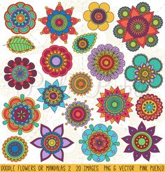 Doodle Flowers and Mandalas Clipart ~ Illustrations on Creative Market