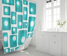 Who says the fun has to stop at the bathroom door? Shop mid century modern shower curtains featuring our original all modern fabrics.