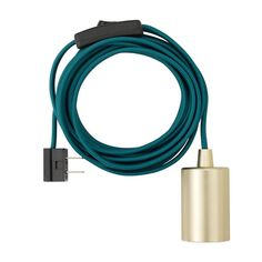 Novogratz x Globe Emile 1-Light Teal and Brass Plug-In Exposed Socket Pendant, 69997