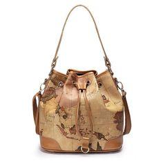 Cheap Retro Elegant World Map Handbag & Shoulder Bag For Big Sale!Retro Elegant World Map Handbag & Shoulder Bag is very popular in the young. It is your best choice. Black Shoulder Bag, Large Shoulder Bags, Canvas Shoulder Bag, Leather Shoulder Bag, Shoulder Strap, Fashion Handbags, Fashion Bags, Women's Fashion, Fashion Ideas