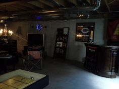 Beautiful Man Cave, Unfinished Basement, Chicago Bears