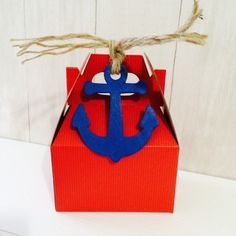 Nautical Birthday Anchor Favor Boxes Red Mini by TheLovelyMemories, $17.00