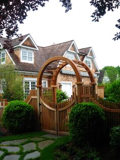 Cedar Moon Gate for a side entrance or for a Backyard access.  Nice look to it and plenty of planting possibilities.