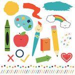 back to school sticker set