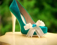 Shoe Clips Something Blue  & Ivory / White / Aqua / by sofisticata, Custom made colors! http://sofisticata.etsy.com